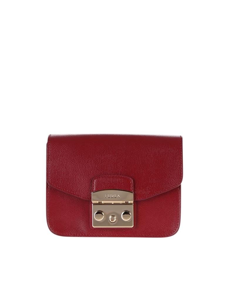 Furla Metropolis Mini Leather Crossbody Bag - Red