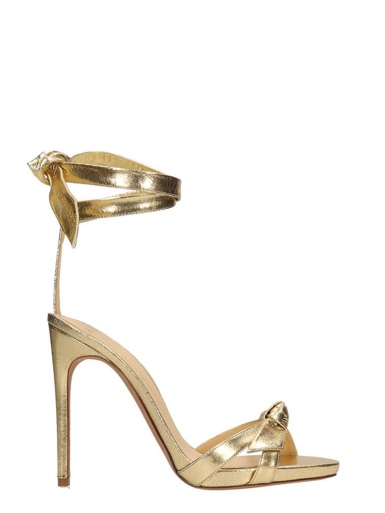 Alexandre Birman Laminated Gold Leather Sandals - gold