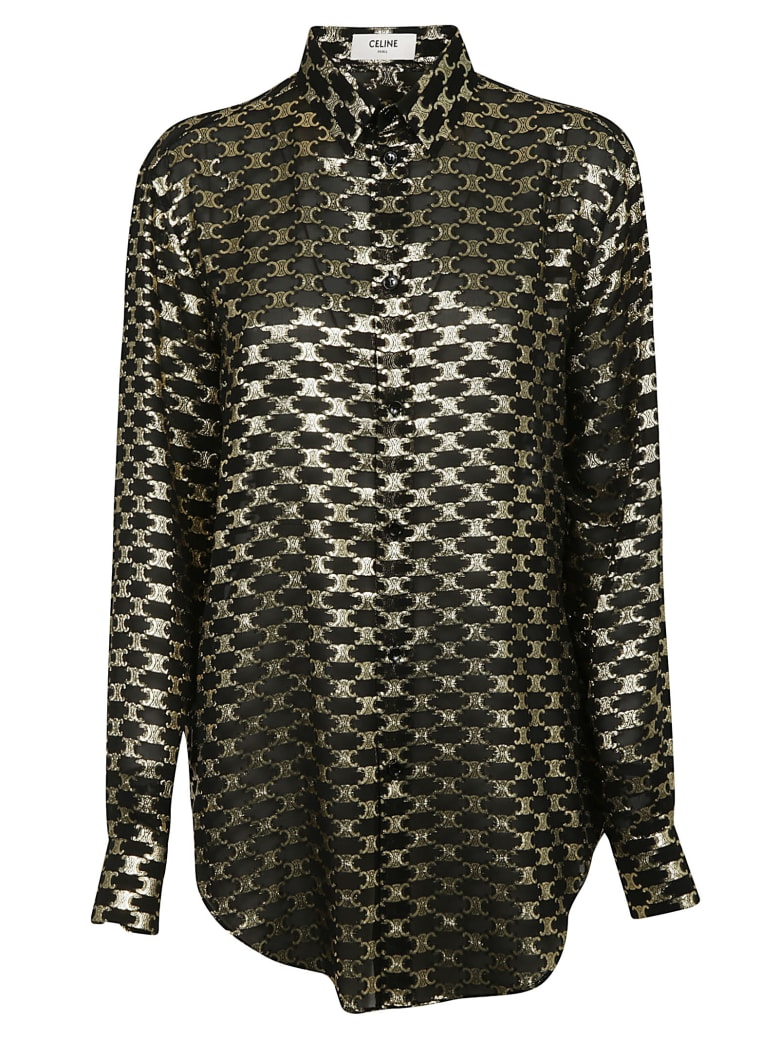 Celine Chemise Oversized Shirt - Black/Gold