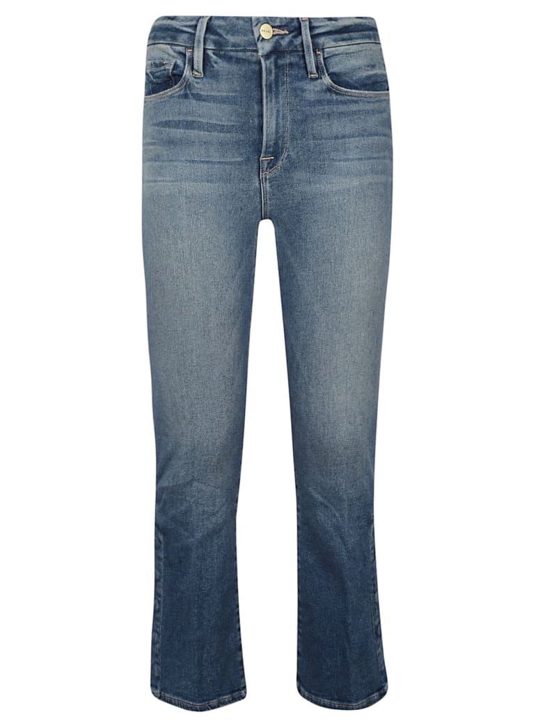 Frame Flared Cropped Jeans - Blue