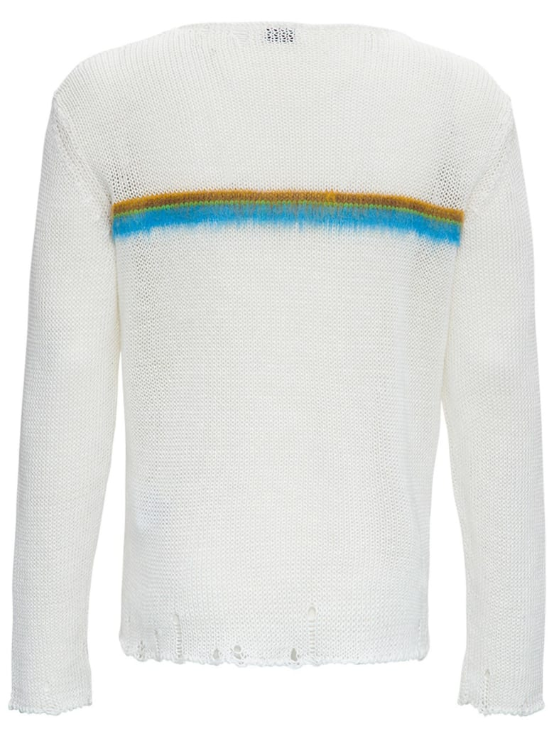 Saint Laurent Linen And Brushed Mohair Destroyed Sweater - White