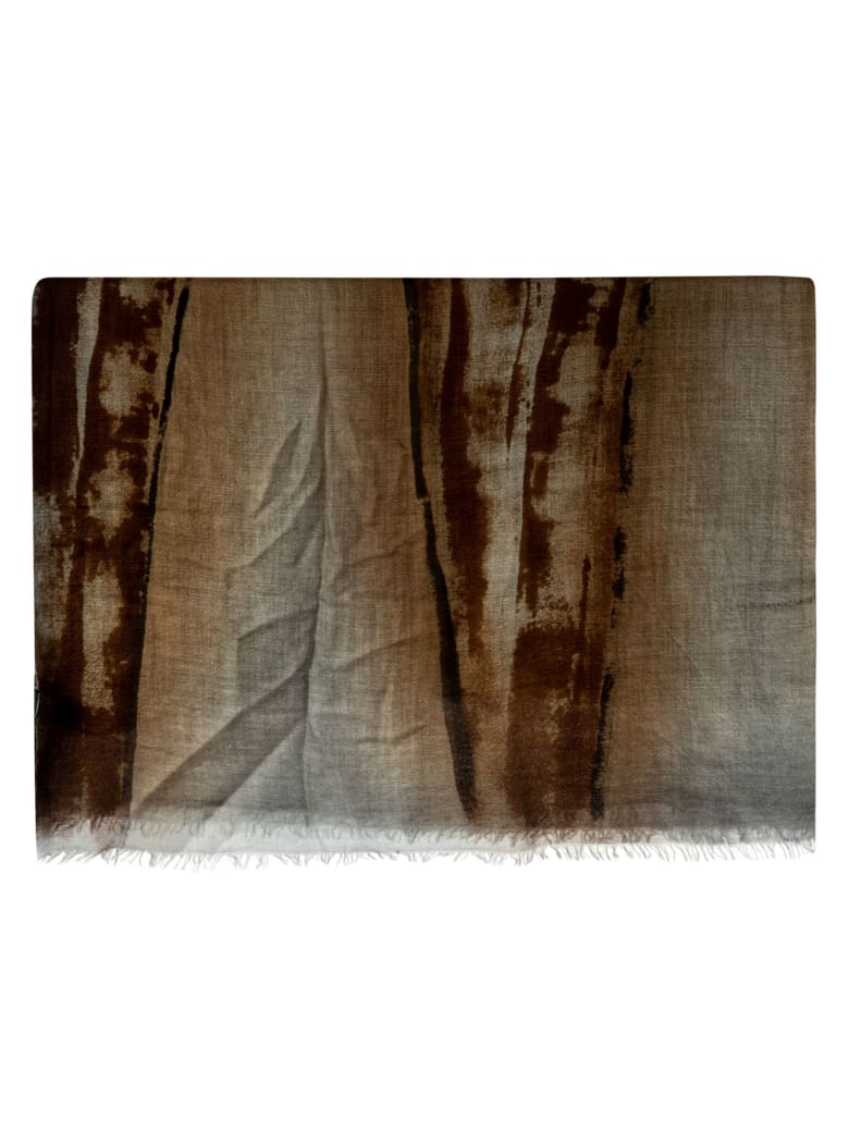 Avant Toi Fringed Edge Pocket Square - Brown/Grey