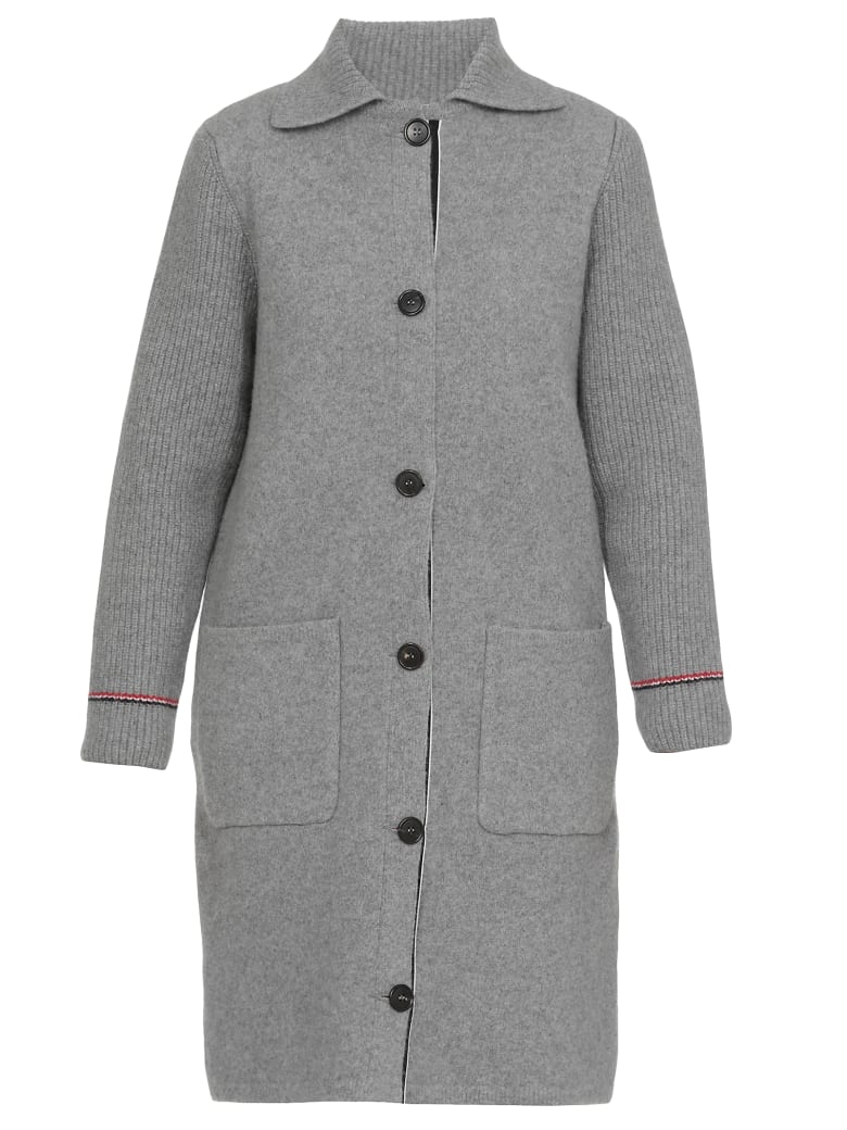 Thom Browne Single-breasted Coat - Light grey