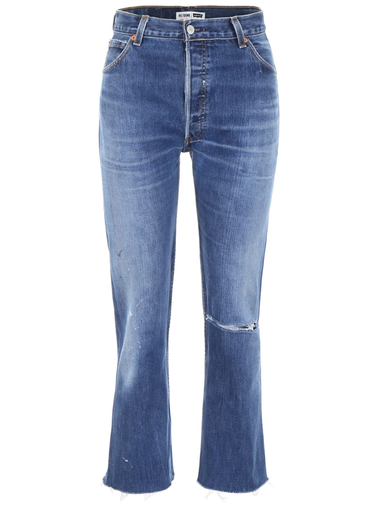 RE/DONE High Rise Stovepipe Jeans - INDIGO (Blue)