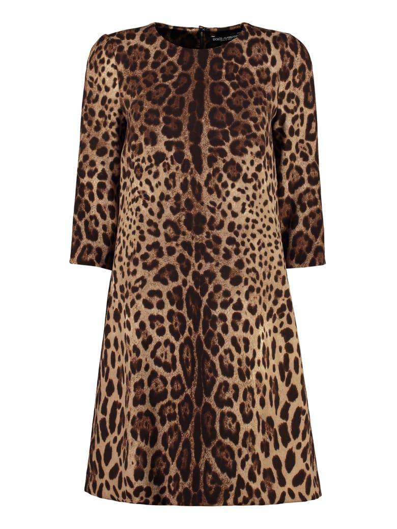 Dolce & Gabbana Printed Wool Dress - brown