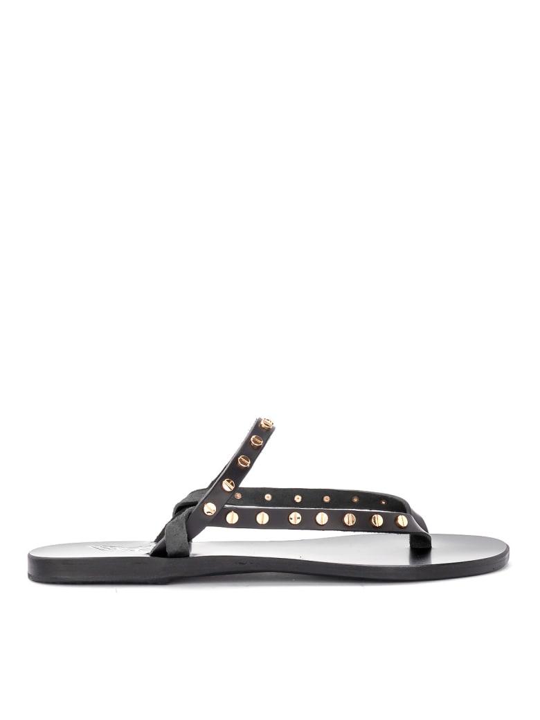Ancient Greek Sandals Mirsini Black Leather Thong Sandal. - NERO