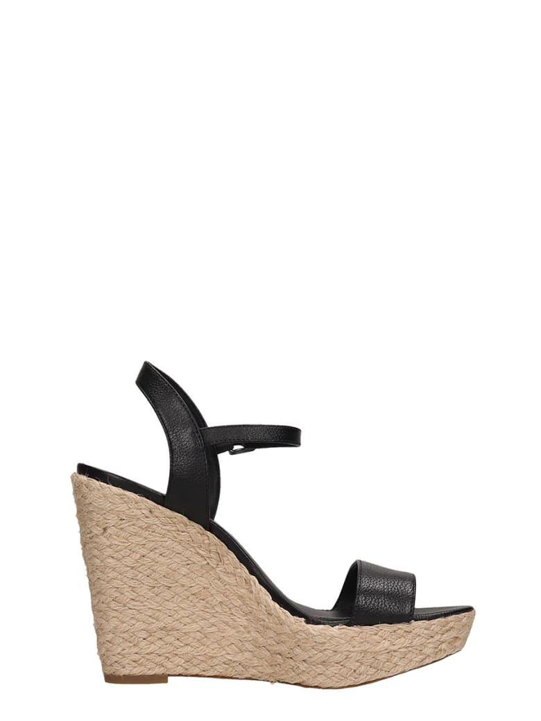 Michael Kors Black Leather Jill Wedge Sandals - black