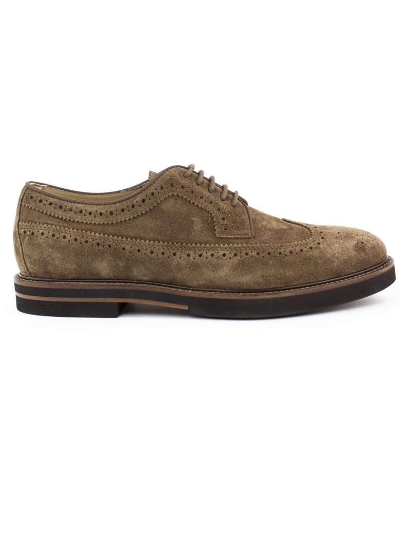 Tod's Lace Ups In Brown Suede - Tabacco