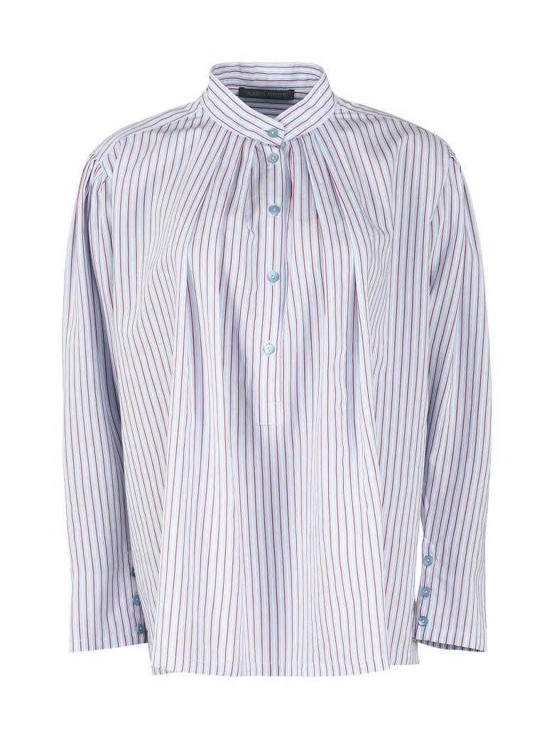 Alberta Ferretti Striped Viscose Blend Shirt - Blue