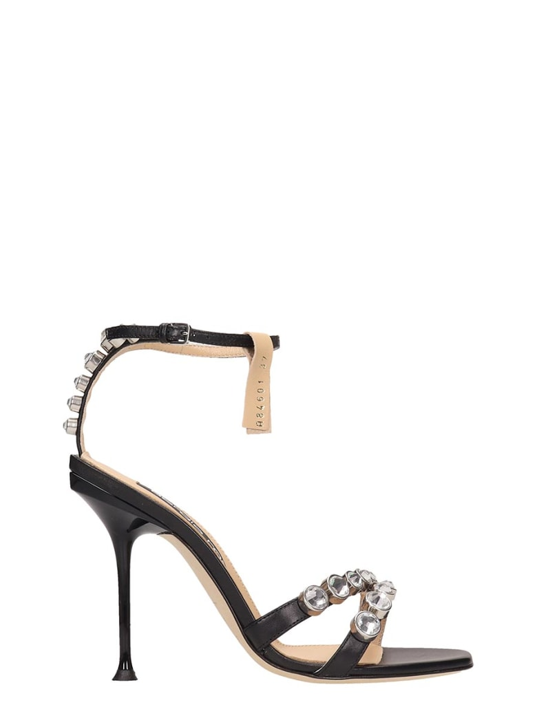 Sergio Rossi Black Leather Sandals - black