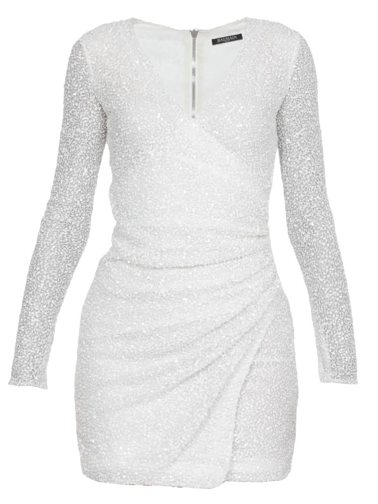 Balmain Mini Sequins Dress - Blanc