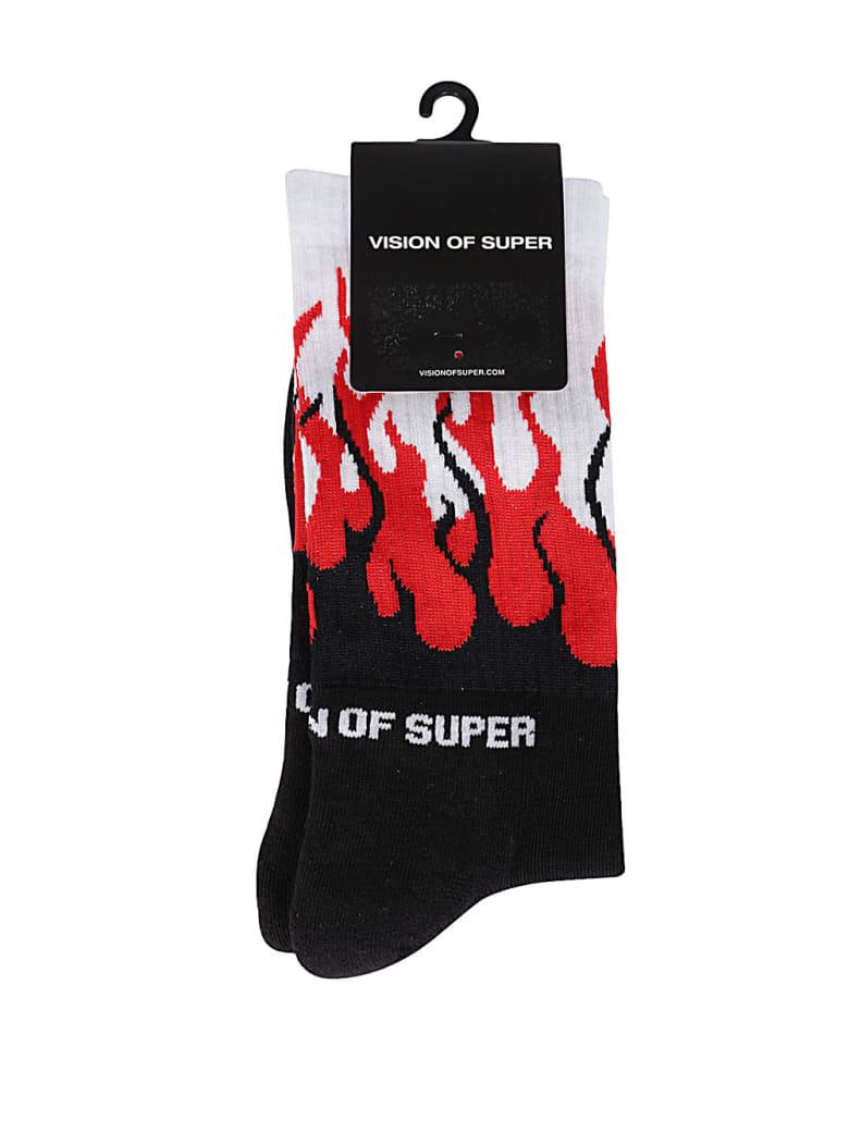 Vision of Super Multicolor Cotton Socks - RED BLACK WHITE