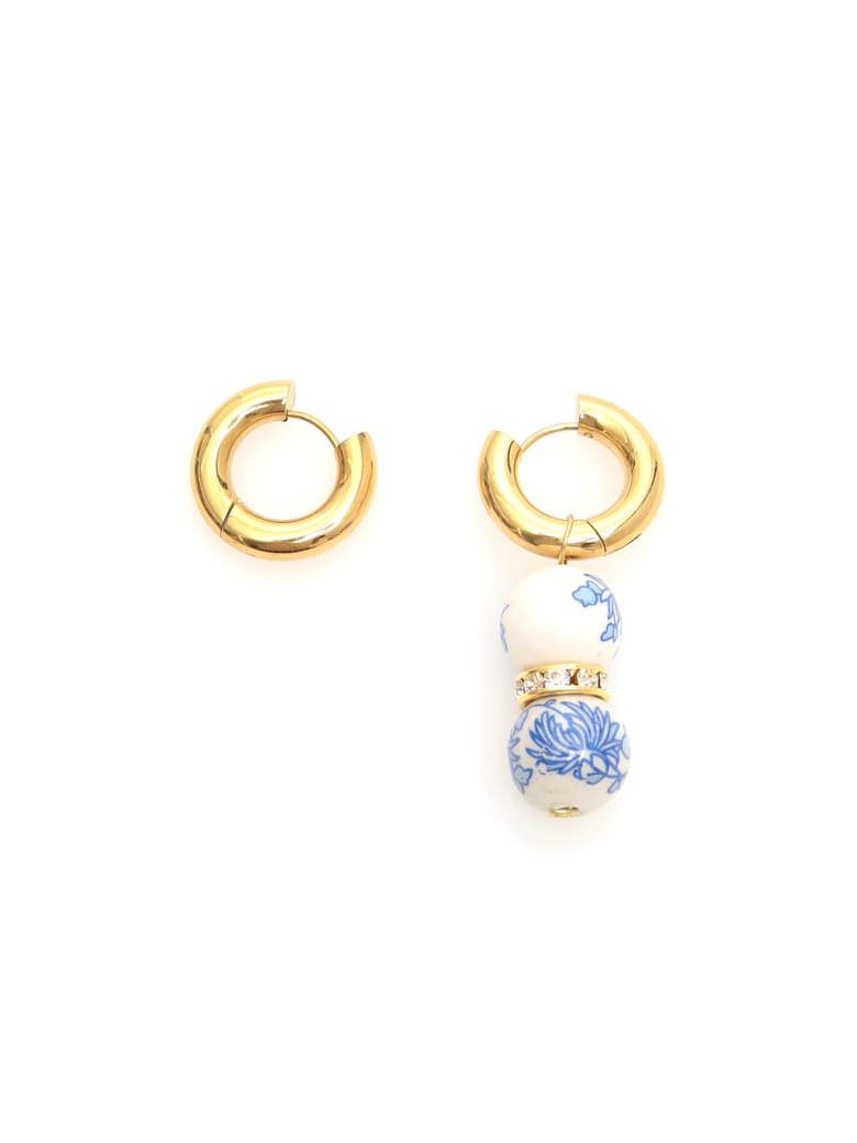 Timeless Pearly Single Pendant Earrings - WHITE BLUE GOLD (Gold)