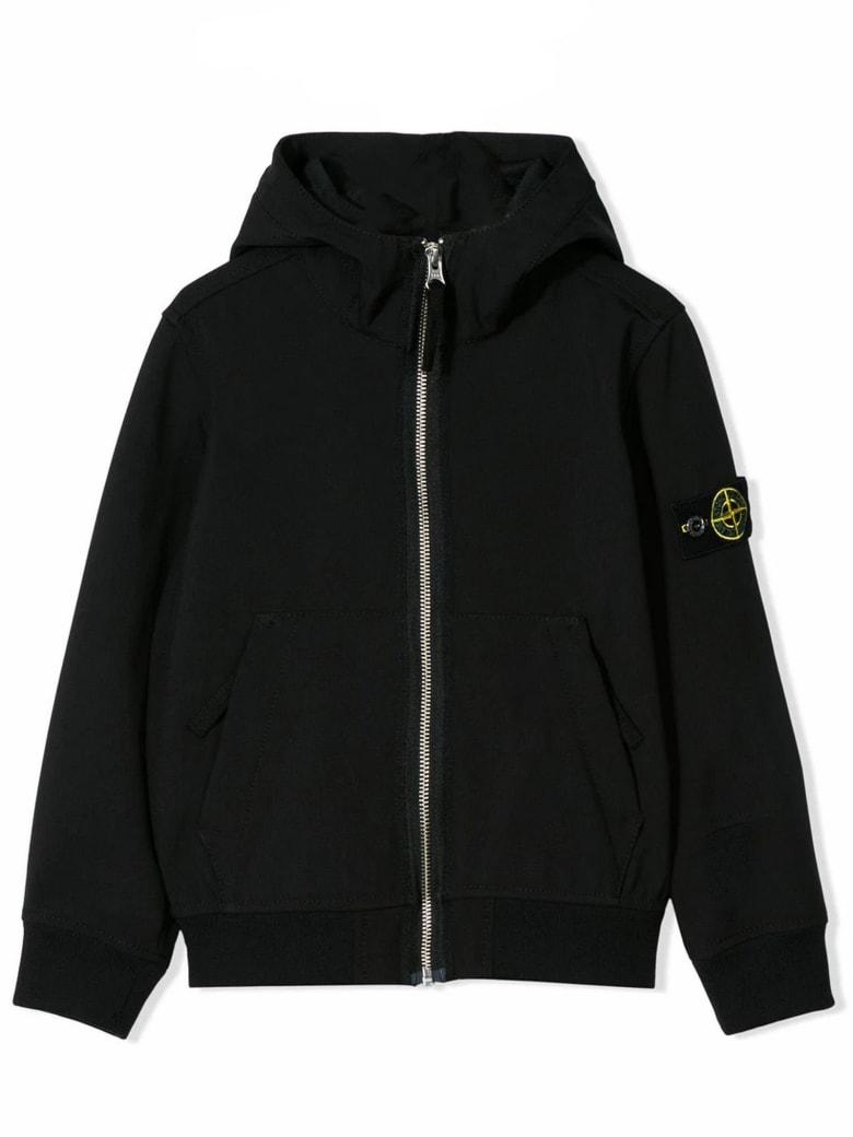 Stone Island Black Logo Hooded Jacket - Nero