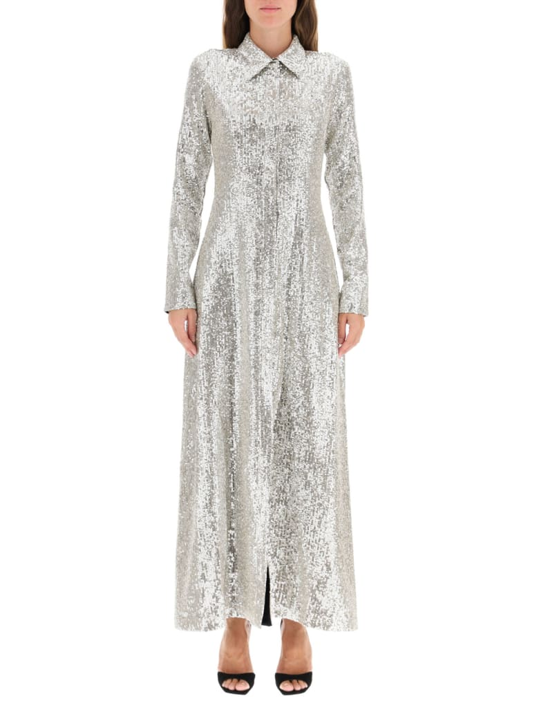 In The Mood For Love Moya Sequined Dress - BEIGE SILVER (Silver)