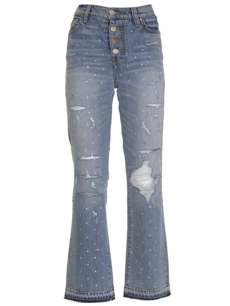 AMIRI Crystal Studded Straight Jeans - BLU
