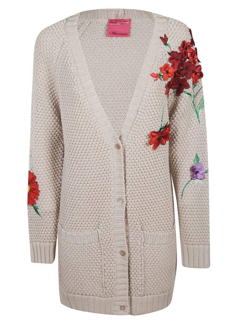 Blumarine Flower Embroidered Cardigan - beige
