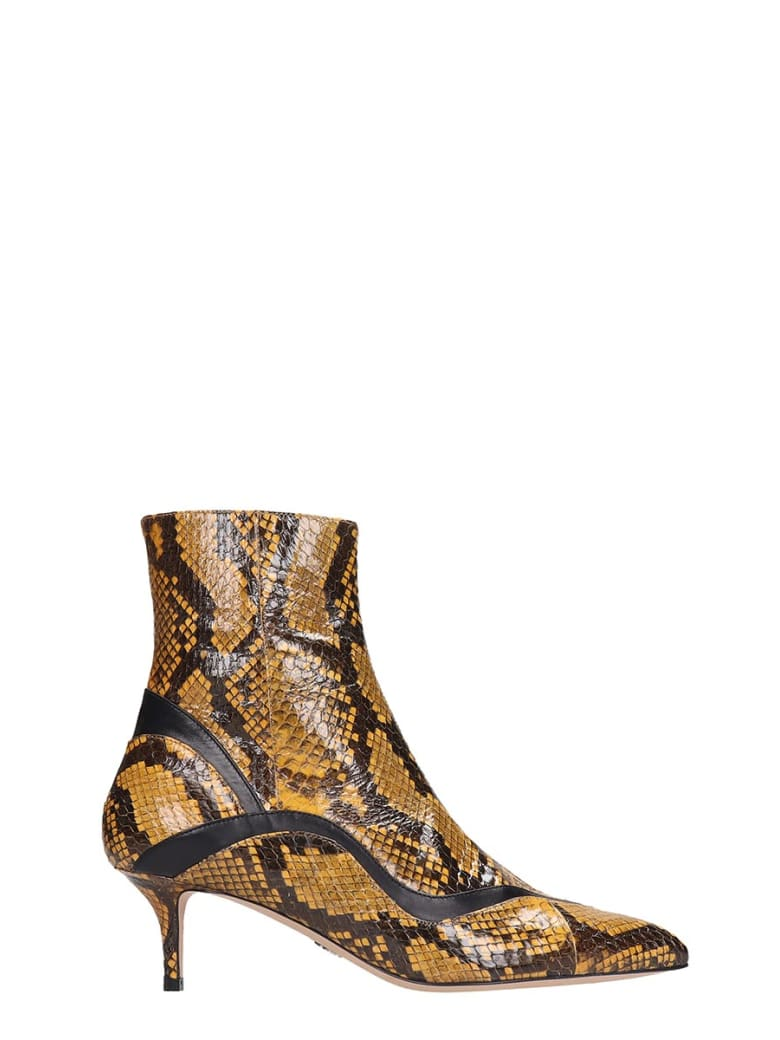 Paula Cademartori High Heels Ankle Boots In Yellow Leather - yellow