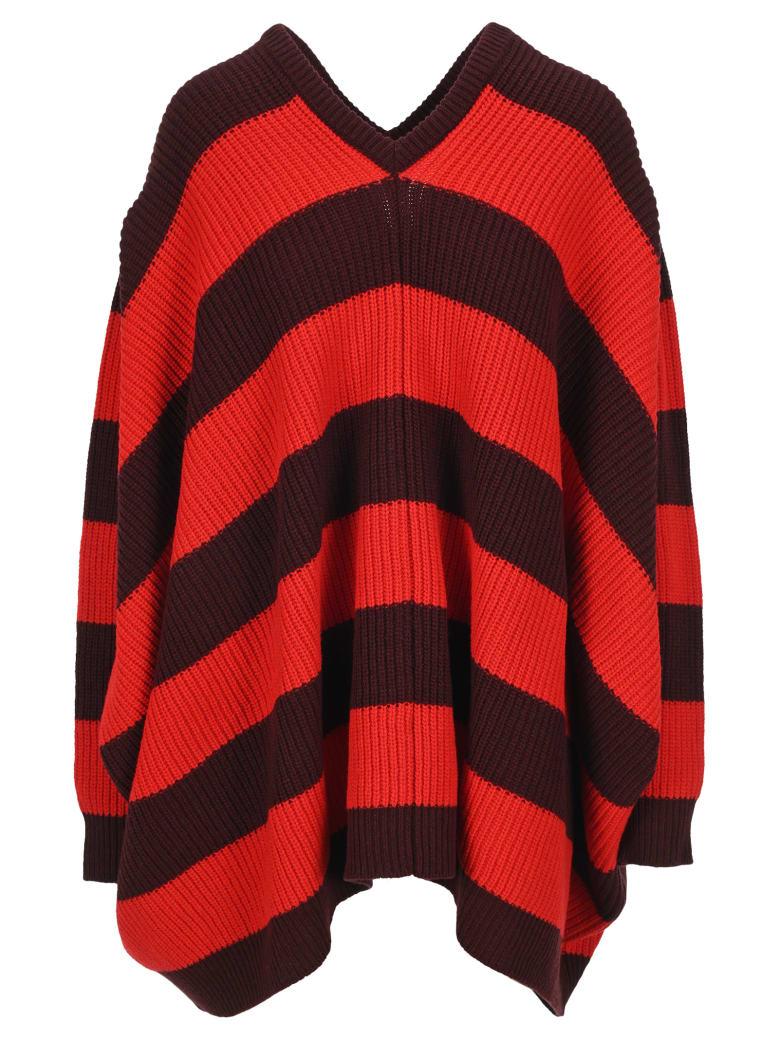 Marni Oversized Striped Jumper - DARK BURGUNDY + RED