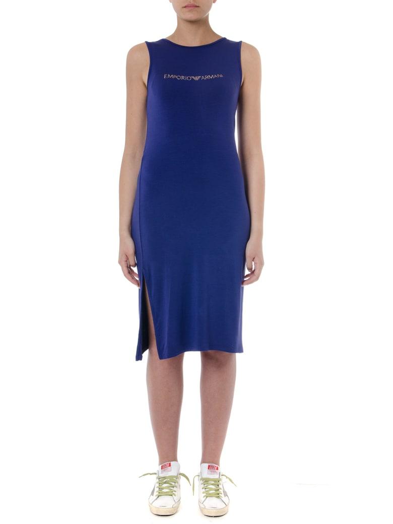 Emporio Armani Indigo Viscose Dress With Logo - Indaco