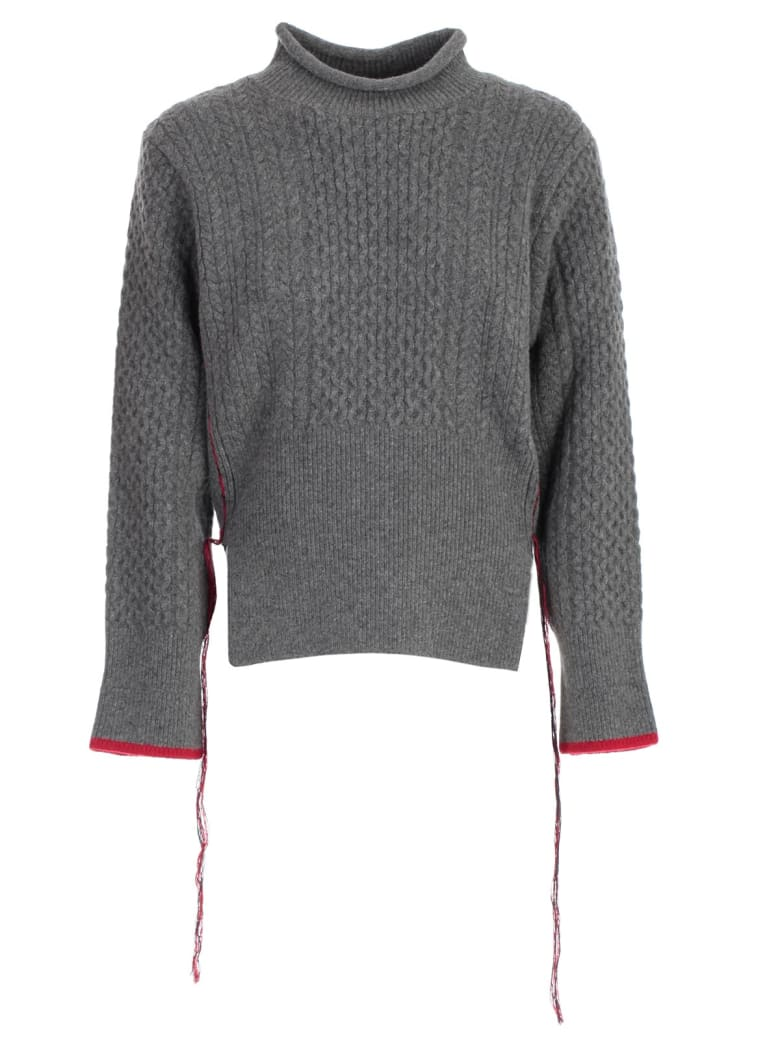Eudon Choi Knitted Sweater - Grey Red