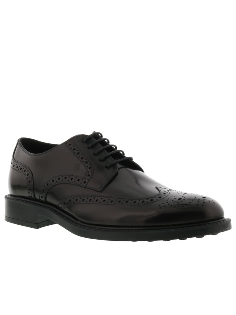 Tod's Derby Bucature Laced Up Shoes - Black
