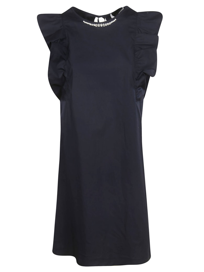 Blugirl Ruffled Sleeve Short Dress - Blue