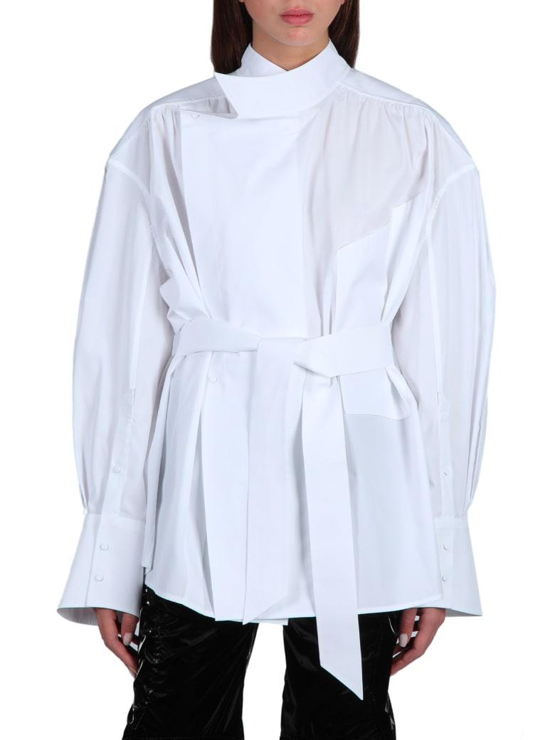 Thierry Mugler Oversized Shirt With Belt - Bianco