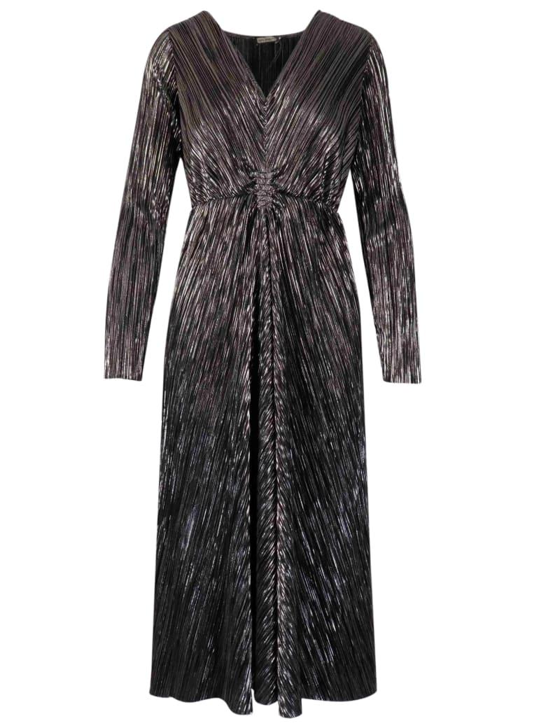 Malìparmi Pleated Lame Dress - BLACK LAMINATE