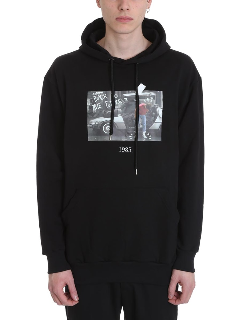 Throwback Marty Black Cotton Hoodie - black