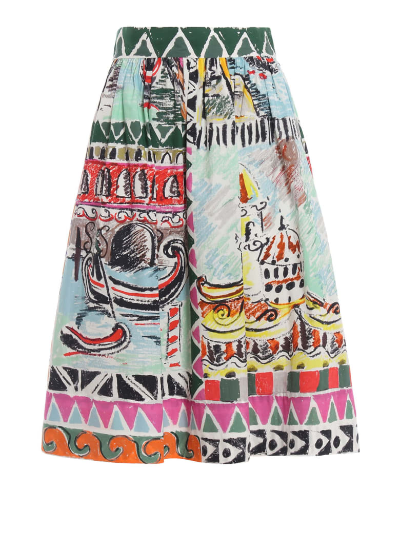 Prada Printed Flared Skirt - Nube