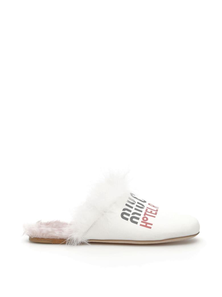 Miu Miu Miu Miu Club Mules - BIANCO MUGHETTO (White)