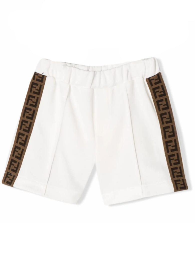Fendi White Cotton Blend Shorts - Gesso