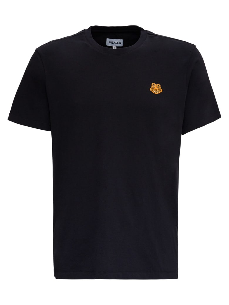 Kenzo Cotton T-shirt With Tiger Patch Logo - Black