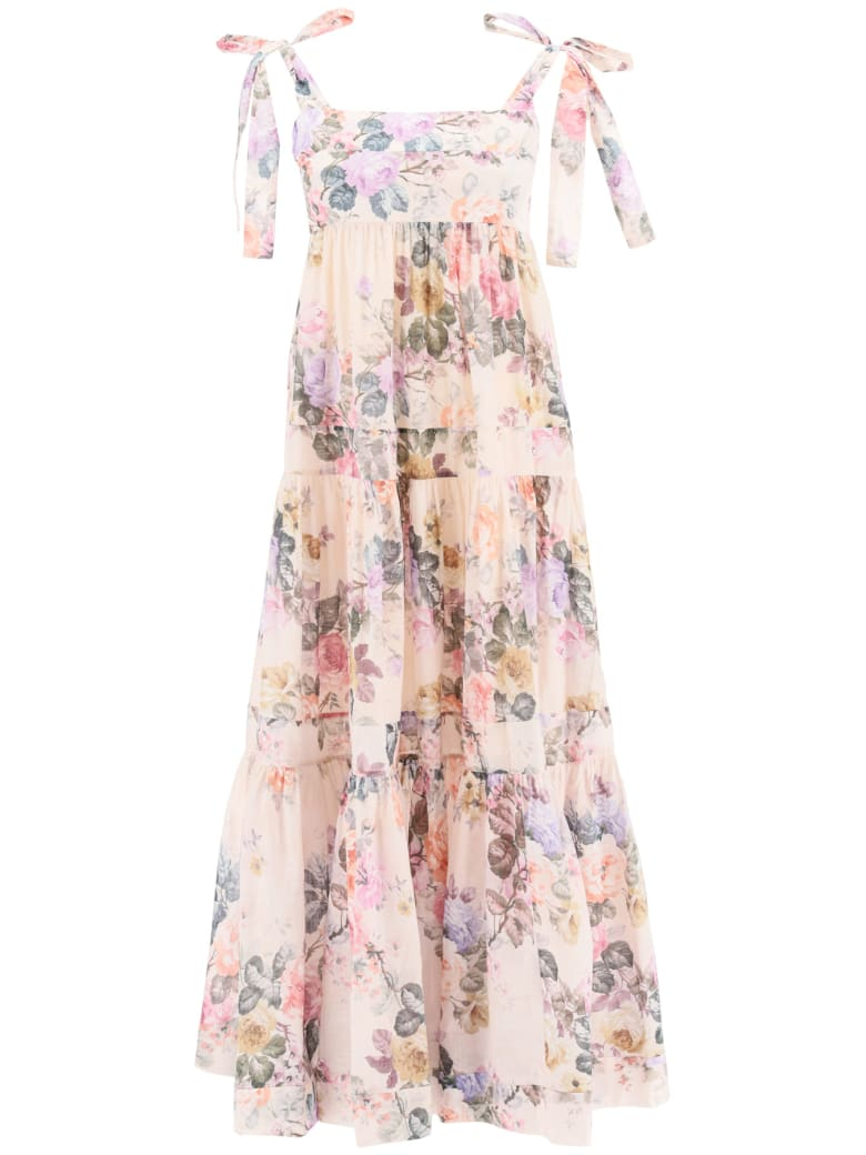 Zimmermann Brigthon Dress In Floral Cotton - Multicolor