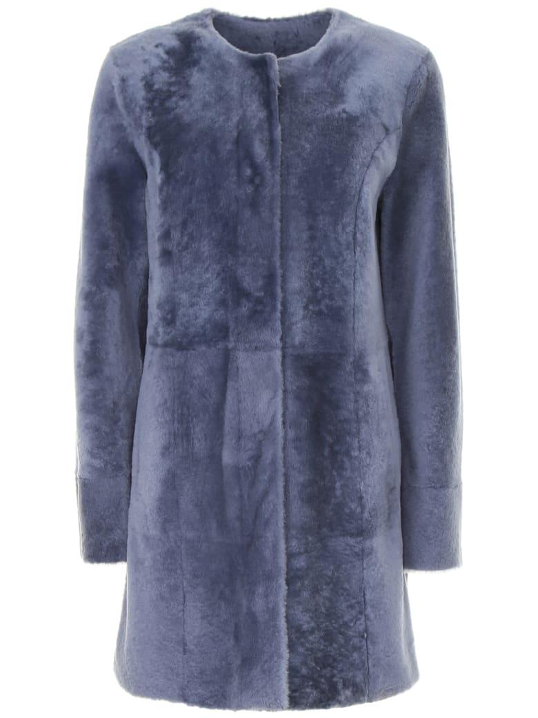 DROMe Reversible Fur Coat - CLOUD (Light blue)