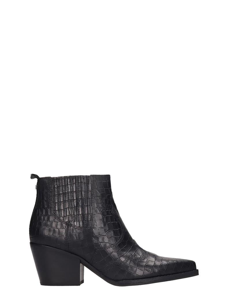 Sam Edelman Winona Texan Ankle Boots In Black Leather - black