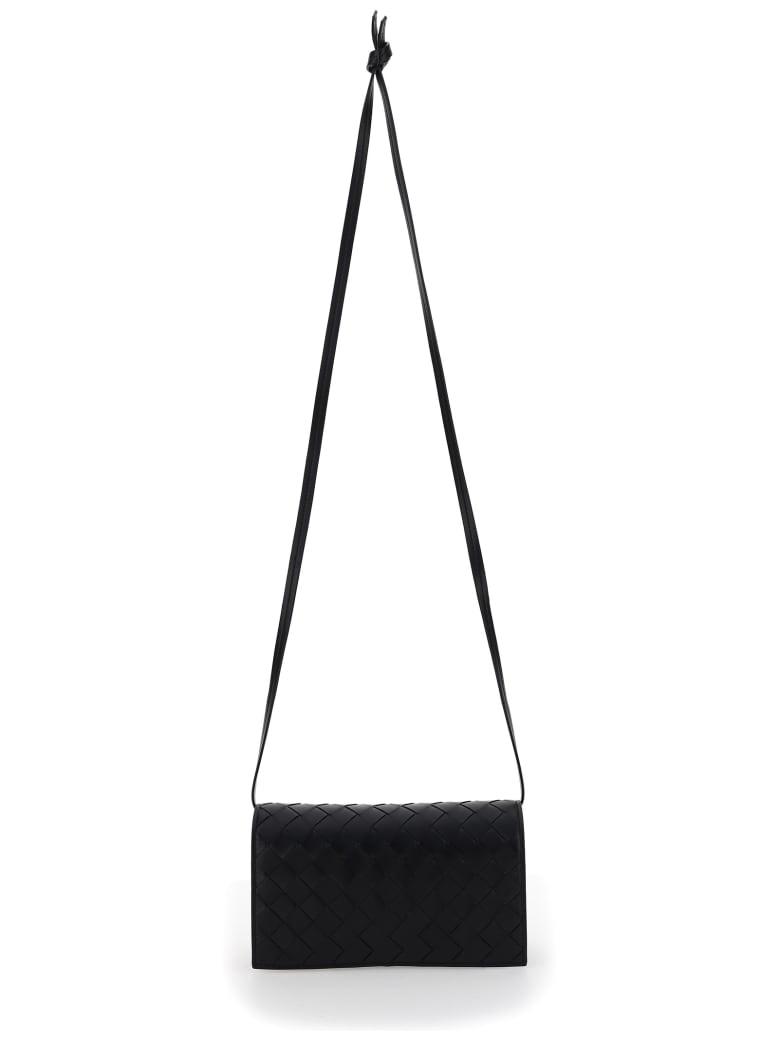 Bottega Veneta Intrecciato Crossbody Bag - Black-silver