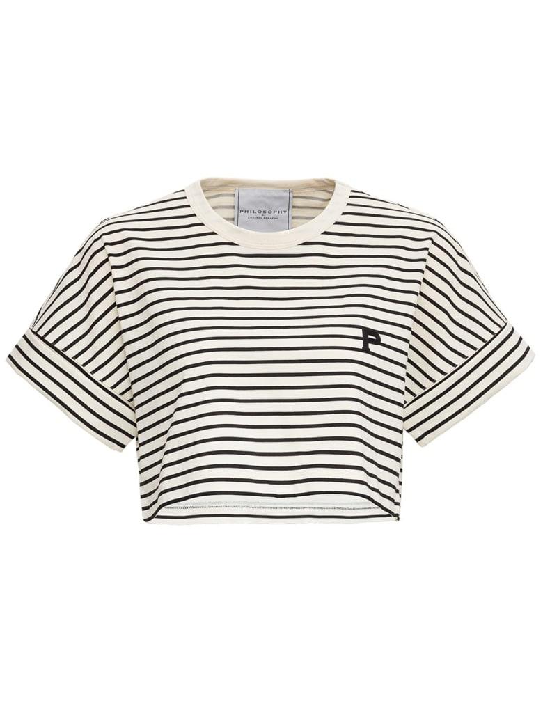Philosophy di Lorenzo Serafini Striped Jersey T-shirt With Logo - White/black
