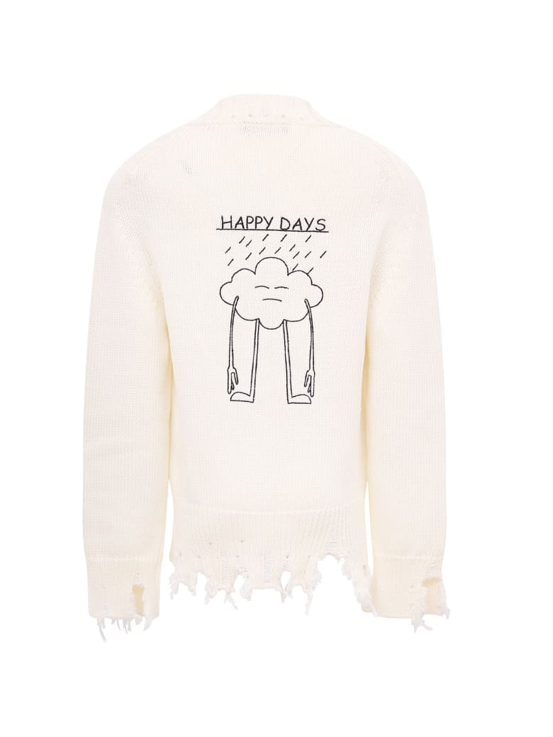 "Riccardo Comi White ""happy Day"" Cardigan - White"