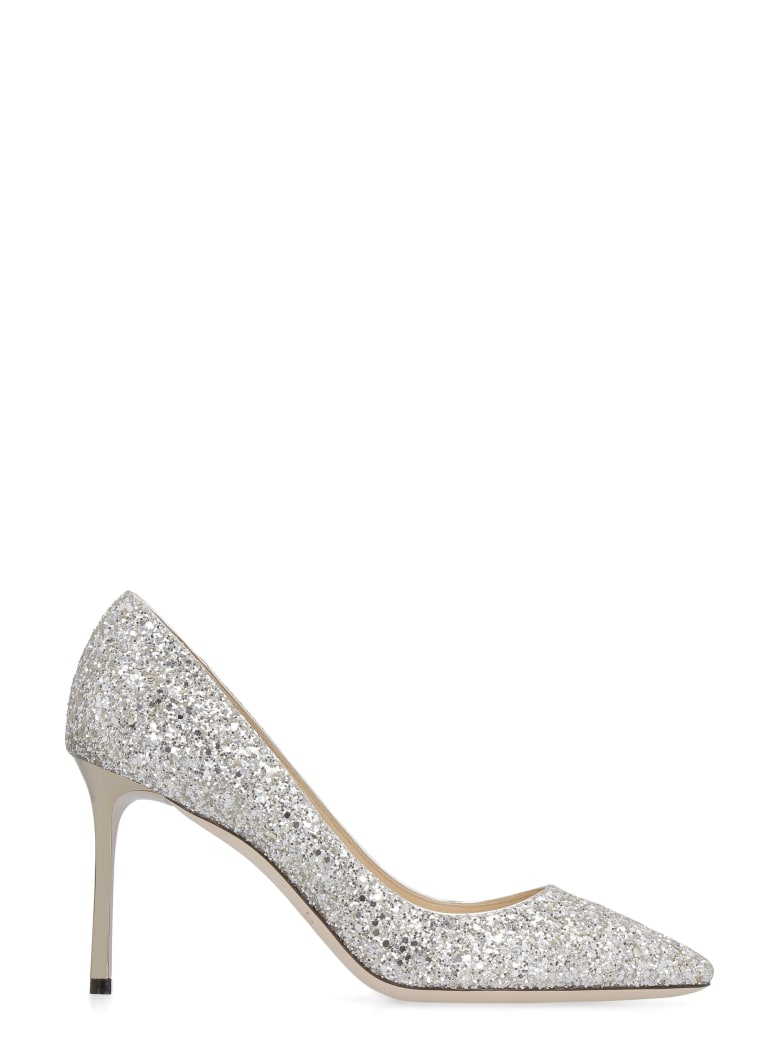 Jimmy Choo Romy Glittered Pointed Pumps - Silver