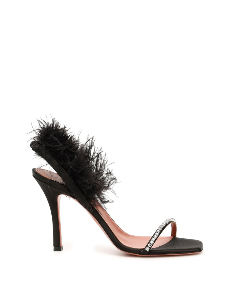 Amina Muaddi Adwoa Crystal And Feather Sandals - BLACK SATIN (Black)