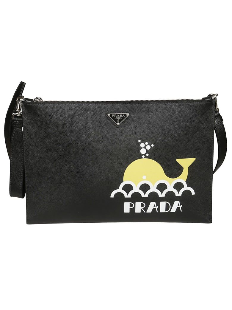 Prada Printed Saffiano Shoulder Bag - Black