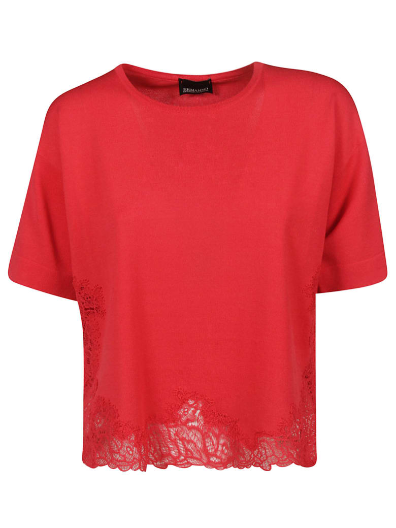 Ermanno Scervino Cropped Perforated T-shirt - red