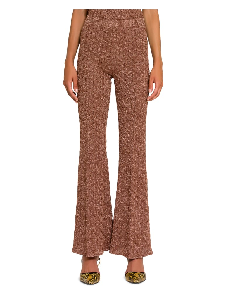Circus Hotel Lamé Knitted Flared Trousers -  Almond