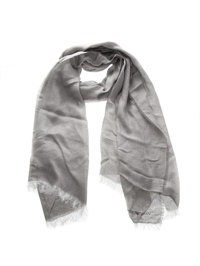 Emporio Armani Grey Linen & Modal Logo Stole - Light grey