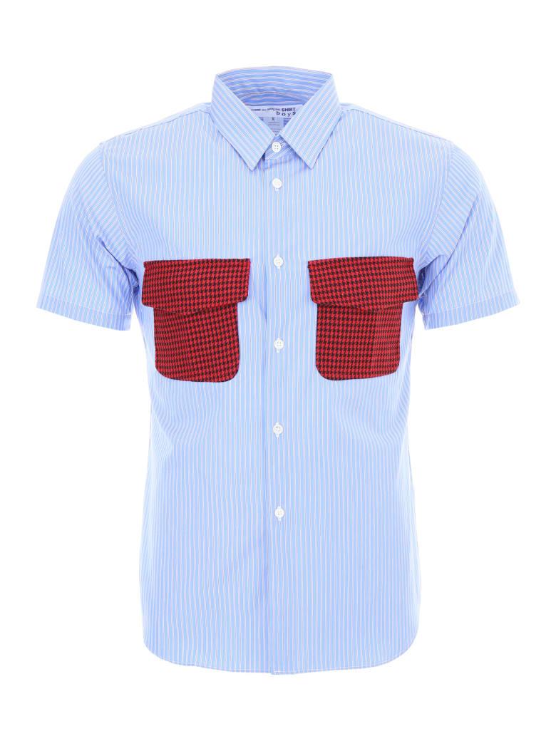 Comme des Garçons Shirt Boy Unisex Striped Shirt - BLU RED BLACK (Light blue)