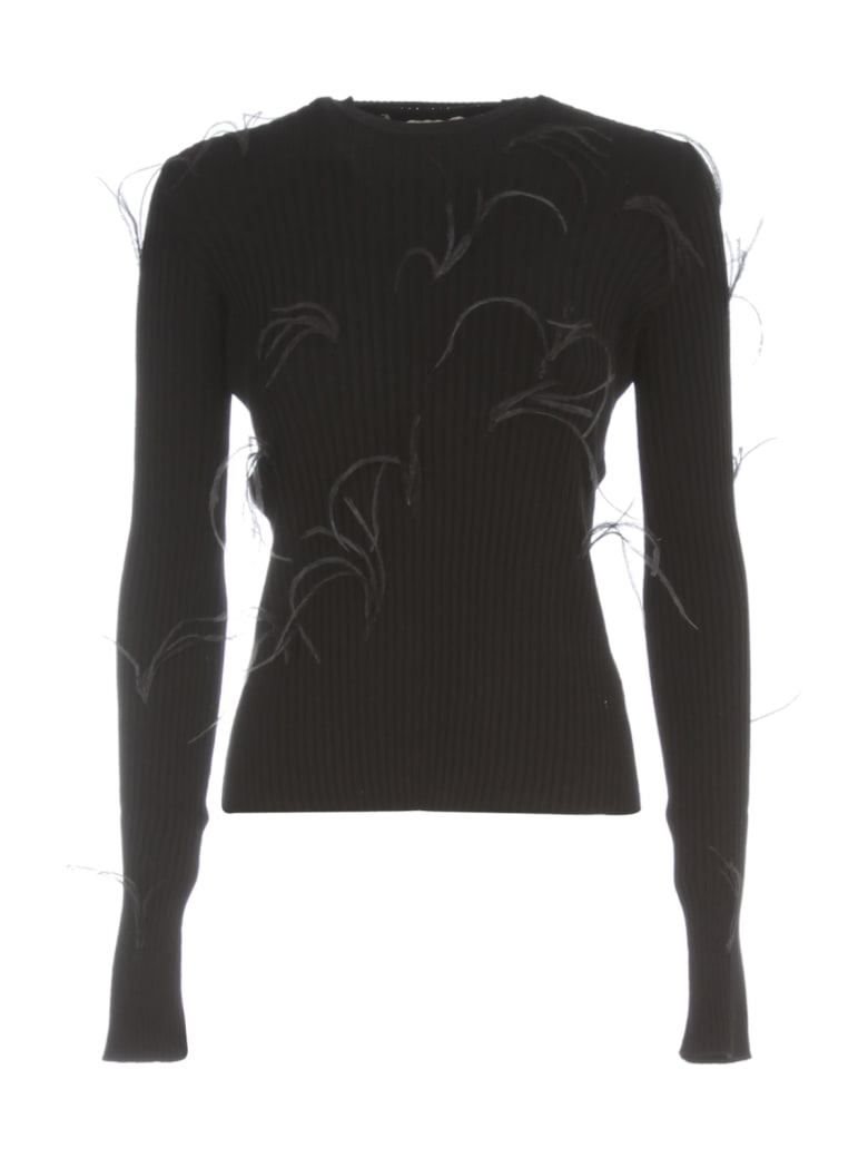 Marques'Almeida Light Weight Feather Crew Neck Jumper - Black