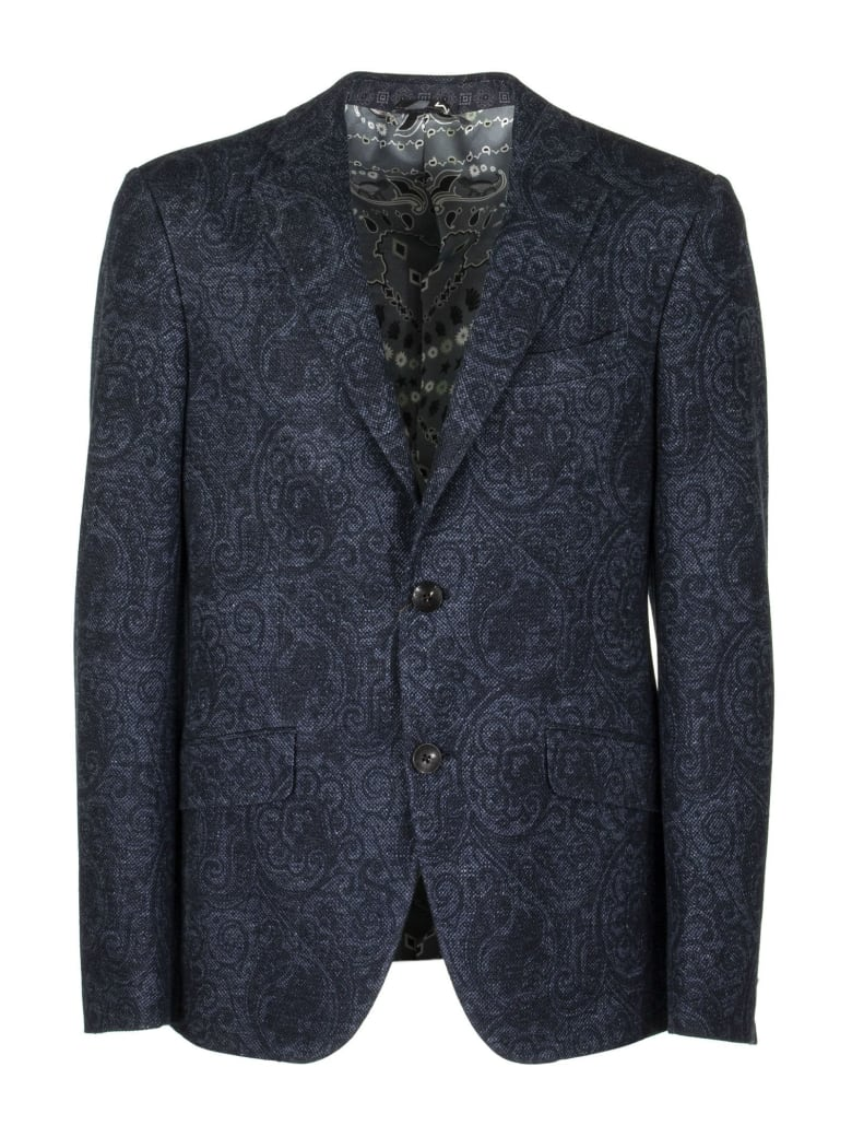 Etro Fantasy Printed Cotton And Linen Jacket - Blue