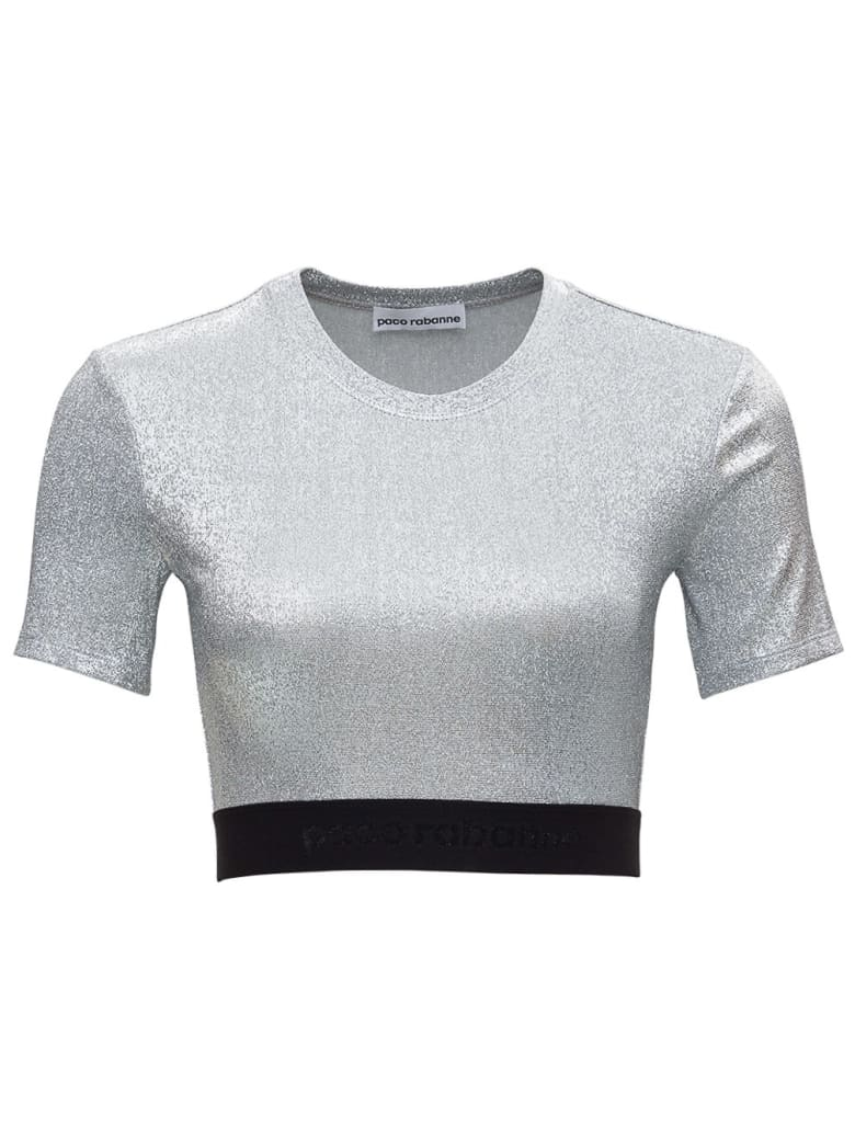 Paco Rabanne Laminated Silver Top With Logoed Elastic Band - Metallic